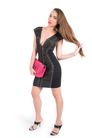 Roberto Cavalli Leather Studded Silk and Leather Mini Dress