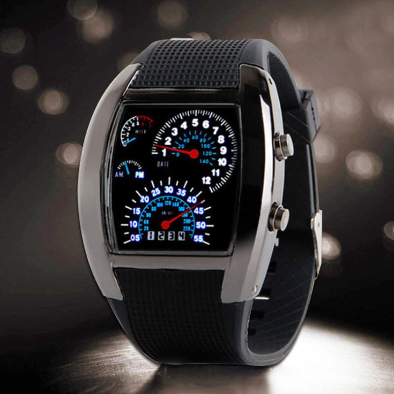 Chrome Speedometer LED Watch