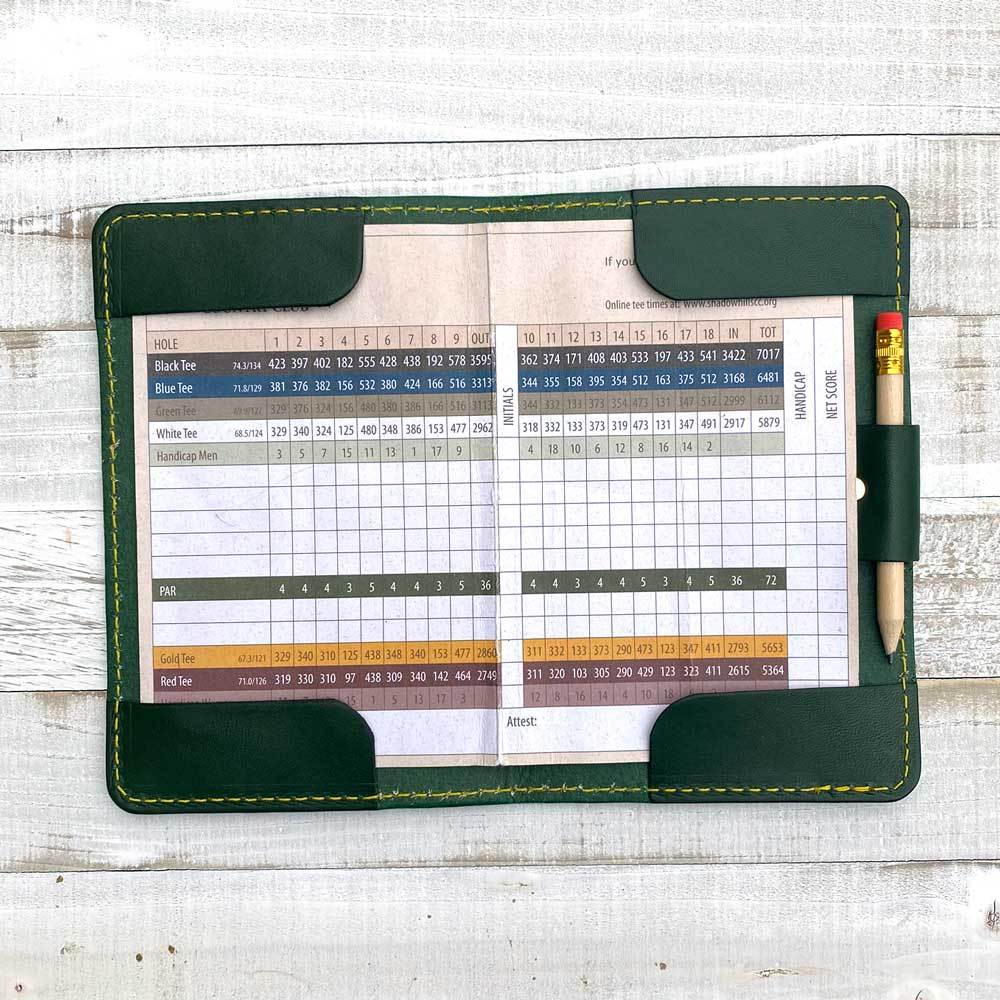 Green Jacket Scorecard Holder with pencil loop open