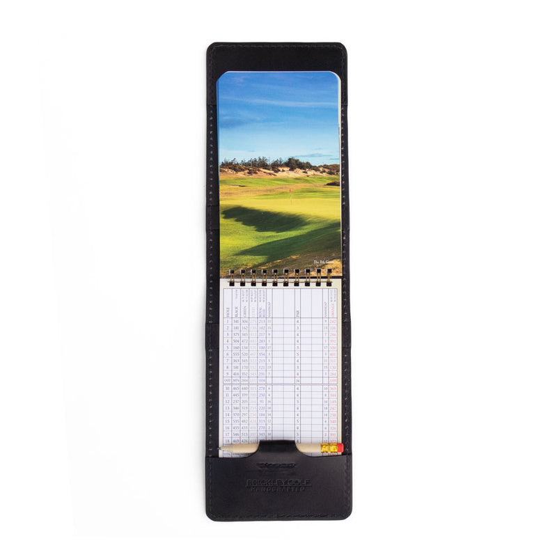 Black leather yardage book cover with yardage book