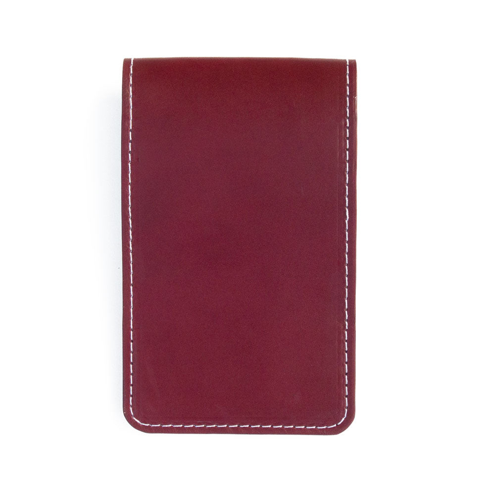 Burgundy leather yardage book cover