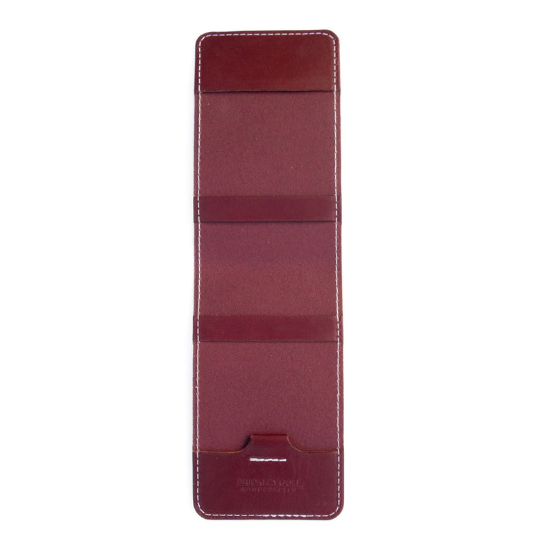 Burgundy leather yardage book cover open