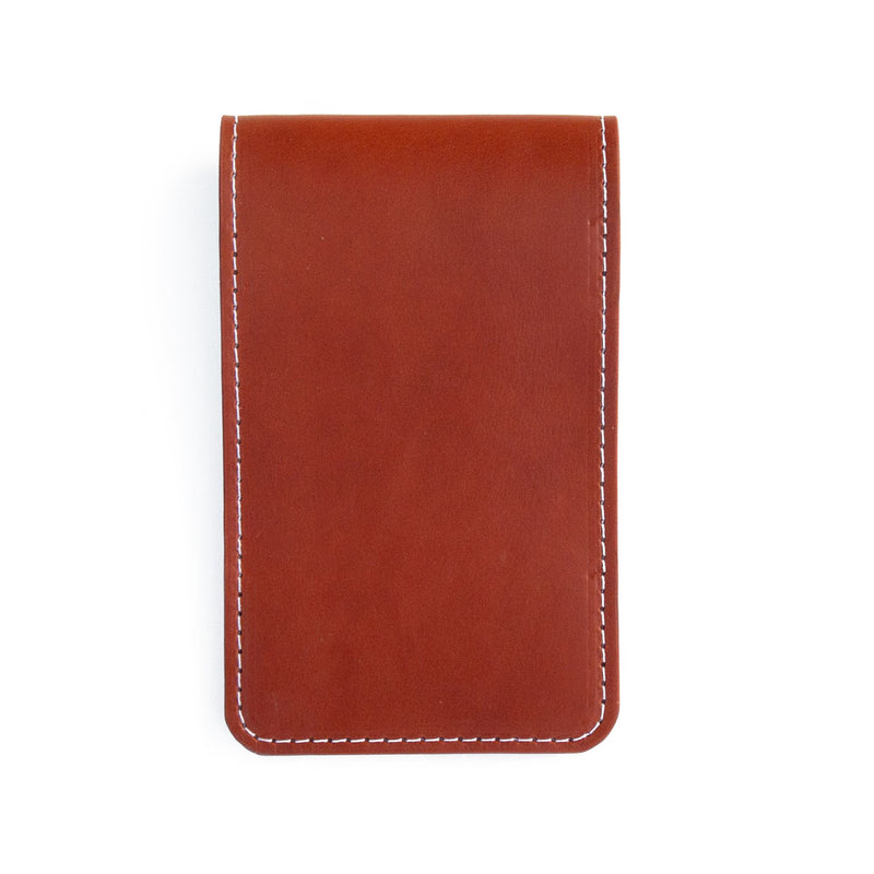 Chestnut leather yardage book cover