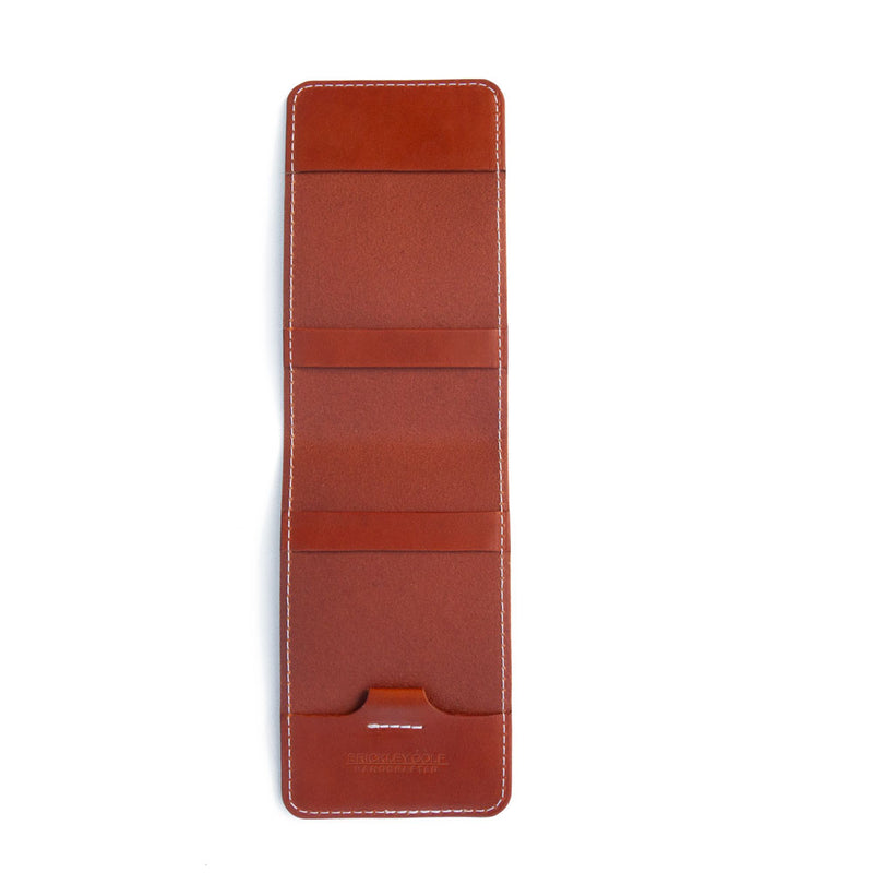 Chestnut leather yardage book cover open