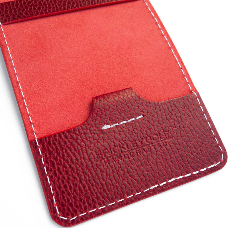 Red pebble yardage book cover with pencil loop