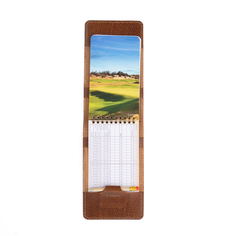whiskey pebble yardage book cover with yardage book and pencil