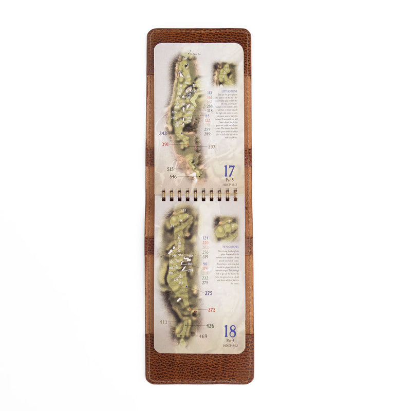 whiskey pebble yardage book cover with yardage book