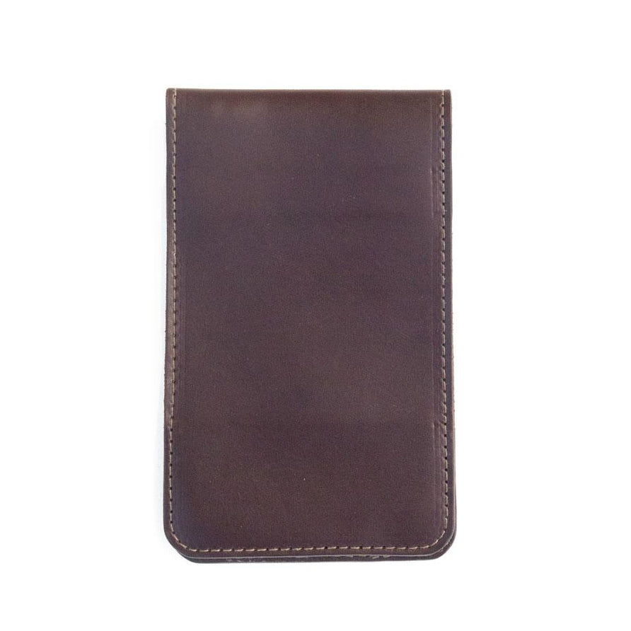 dark brown leather yardage book cover front