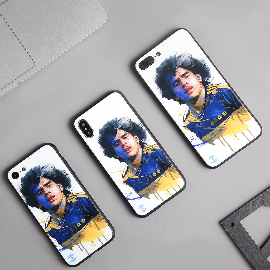 Diego Maradona, Football Fandom Toughened Glass iPhone Case