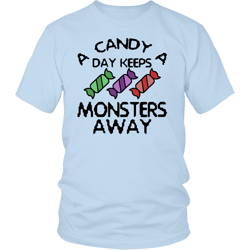 "All Woman Brands ""Candy Keeps Monsters Away"" Funny Halloween Unisex T-shirt, Small - 4XL"