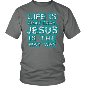 "All Woman Brands ""Life is Cray Cray, Jesus is the Way Way"" Funny Inspirational Unisex T-shirt, Small - 4XL"