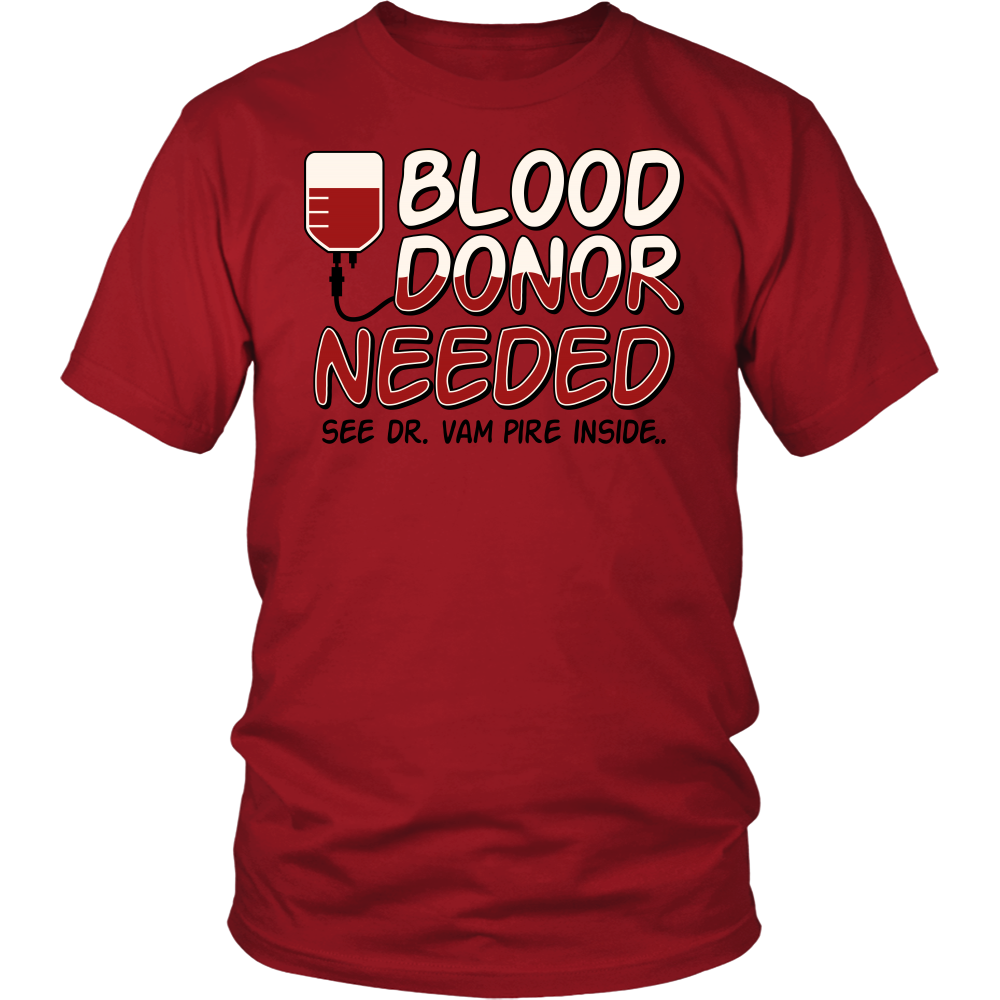 "All Woman Brands ""Blood Donor Vampire"" Funny Halloween Unisex T-shirt, Small - 4XL"