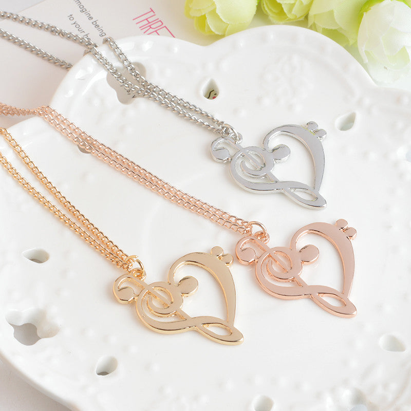Hollow Treble Clef Bass Heart Shaped Musical Note Pendant Necklace