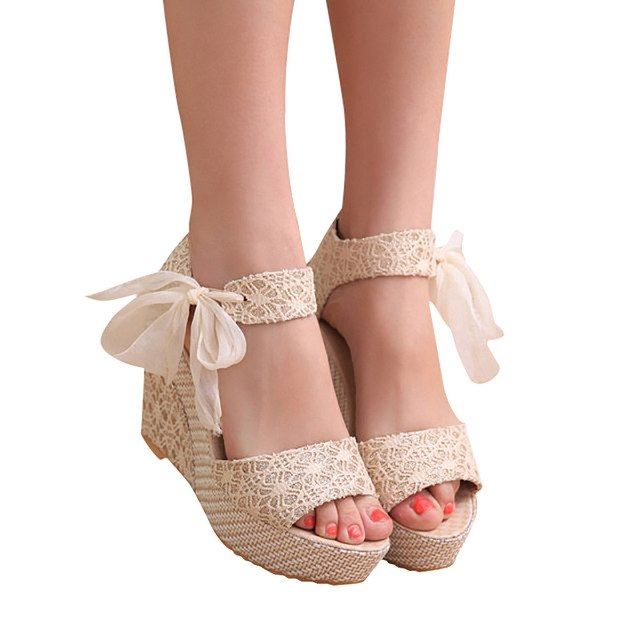 Lace High Heel Shoes Sandals Comfort Sandals