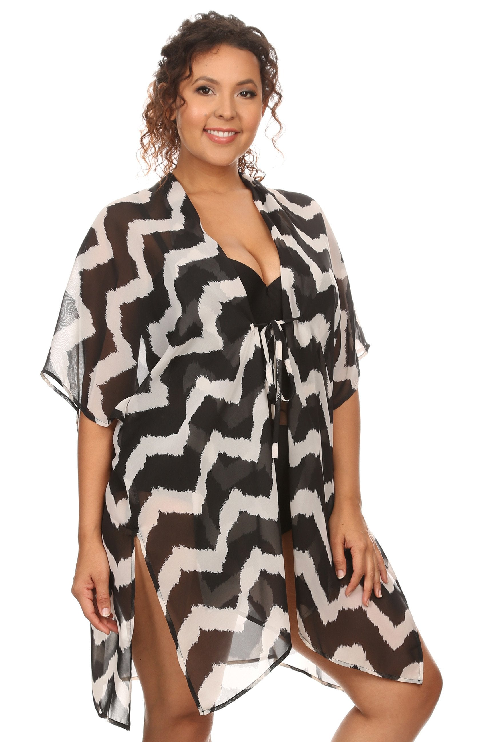 Plus Size Women's Front Tie Beach Dress Cove Up