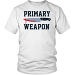 "All Woman Brands ""Primary Weapon"" Knife Halloween Unisex T-shirt, Small - 4XL"