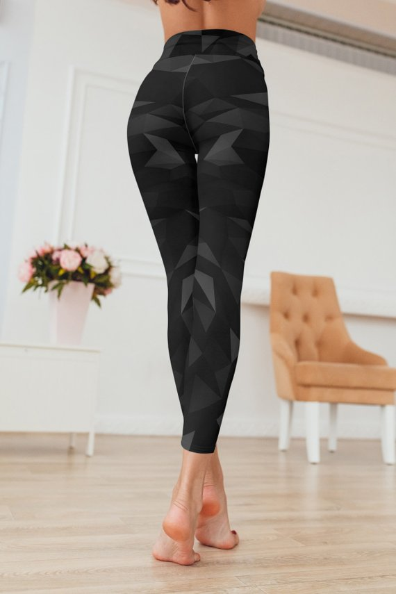 Geometric Black Leggings For Women Gym Leggings