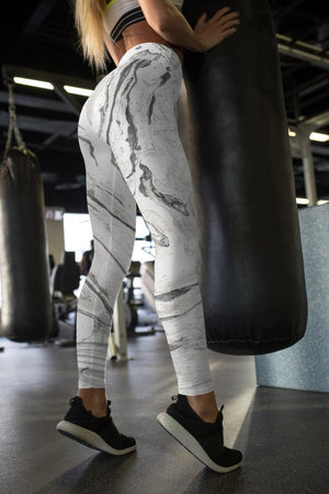 Marble White Leggings For Women Party Leggings