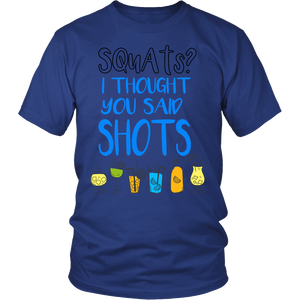 "All Woman Brands ""Squats or Shots"" Funny Unisex T-shirt, Small - 4XL"