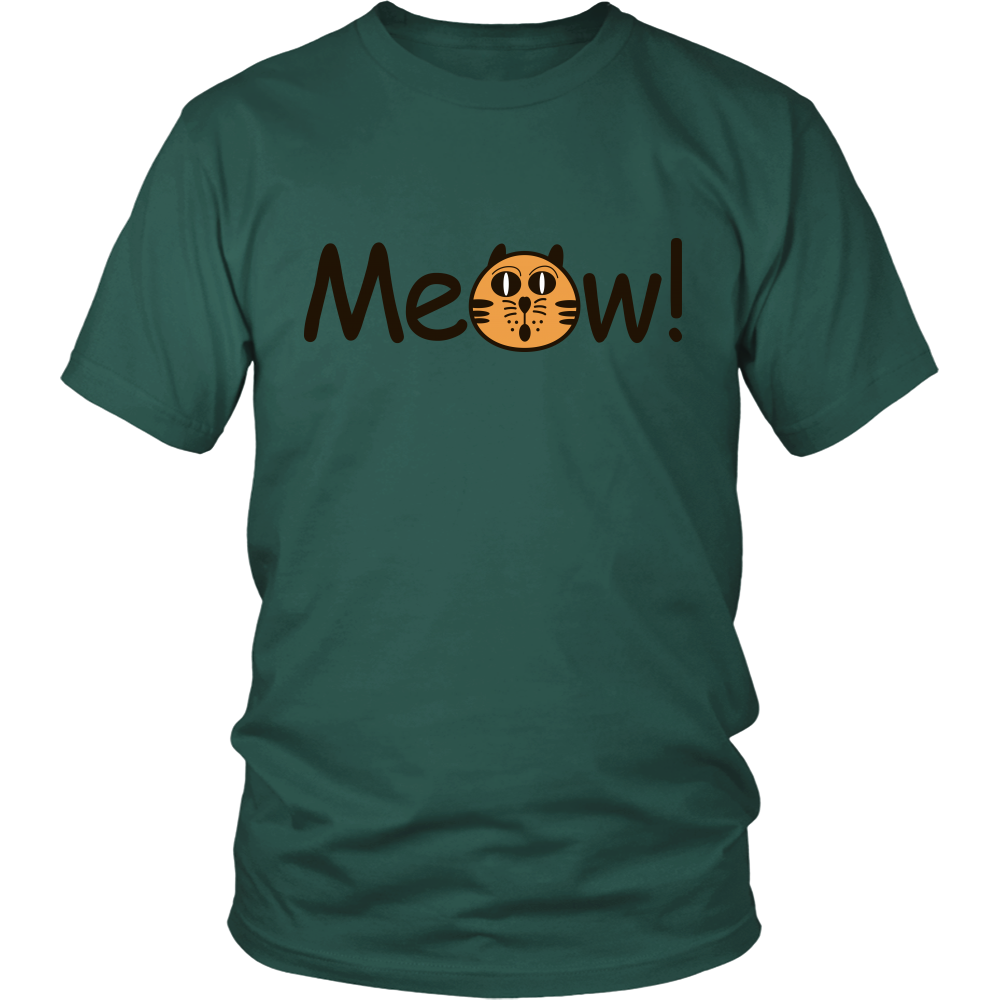 "All Woman Brands ""Meow"" Funny Cat Unisex T-shirt, Small - 4XL"