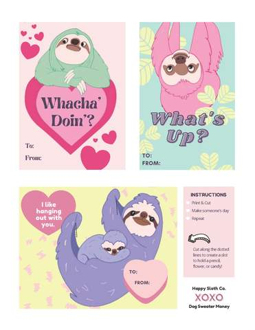 Printable Sloth Valentine's Day Cards