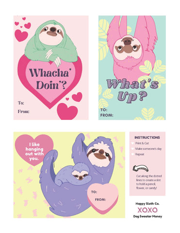 happy sloth printable valentines card