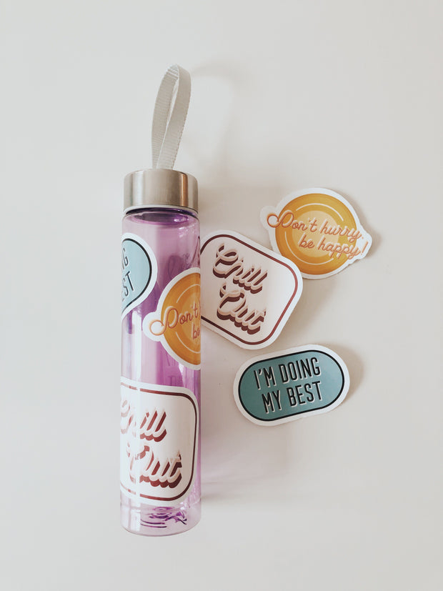 Sticker pack with 3 different stickers and water bottle with stickers