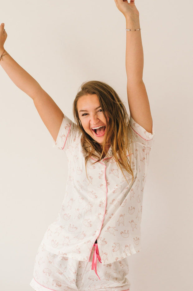 Pink Sloth Pajama Set