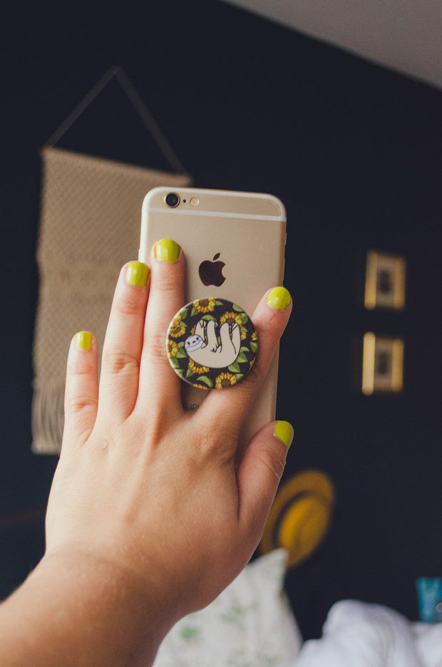 Happy Sloth Co. Sunflower Pop Sloth-ket Pop Socket Phone Grip