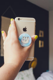 Happy Sloth Co. Blue Watercolor Pop Sloth-ket Pop Socket Phone Grip