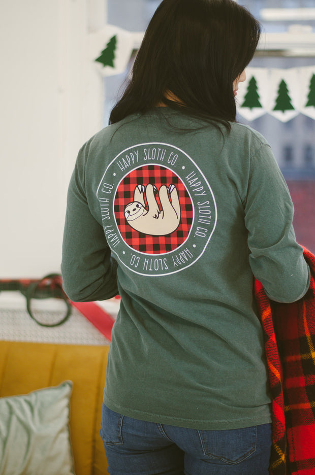 Happy Sloth Flannel Print Long Sleeve T-Shirt