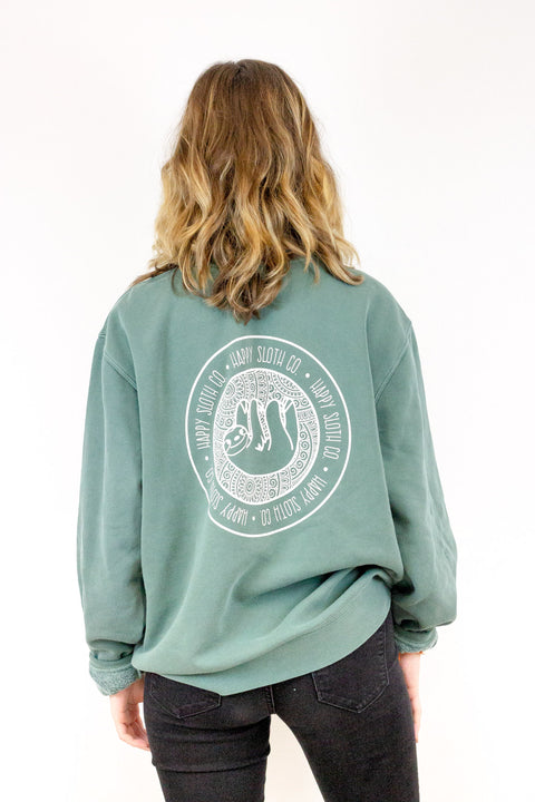 Olive Crewneck Pullover Sweatshirt Sweater Happy Sloth