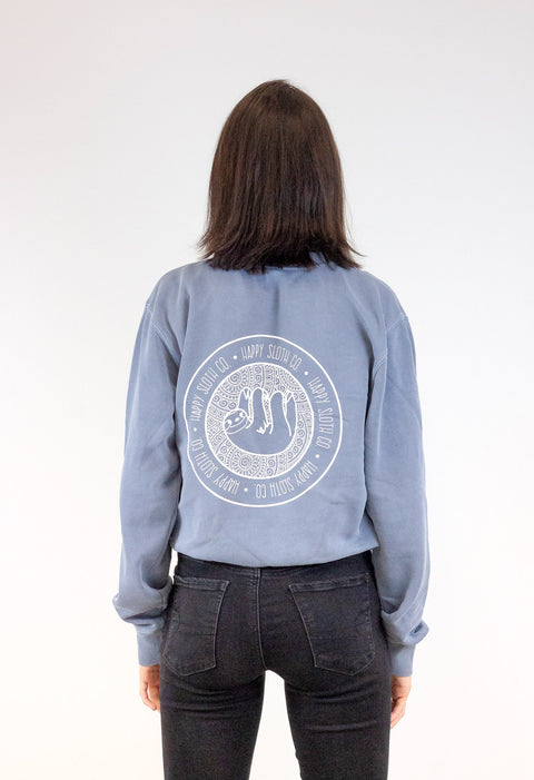 Happy Sloth Indigo Crewneck Sweatshirt