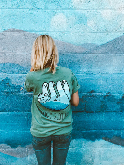 Happy Sloth Co. Green Mountain Tee Blue