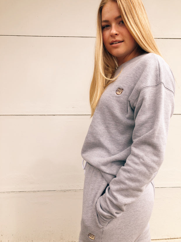 Light Grey Embroidered Pullover