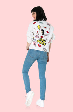 White Denim Patches Jacket
