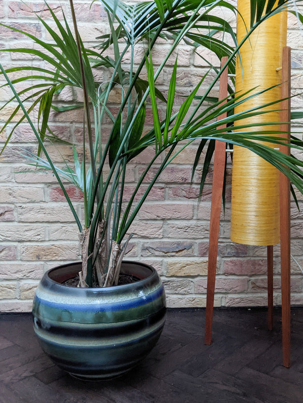 Edelina large indoor plant pot, black, white, blue and green layered glaze