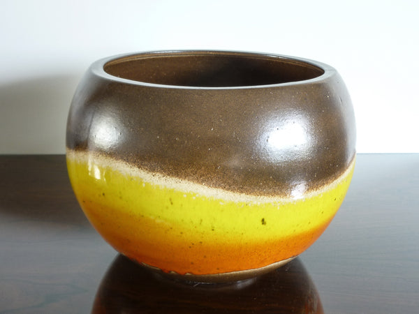 Helene large indoor plant pot, fiery orange and yellow wave on brown and beige