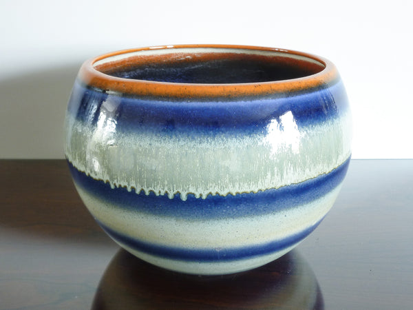 Nixie large indoor plant pot, blue & white glaze with orange rim