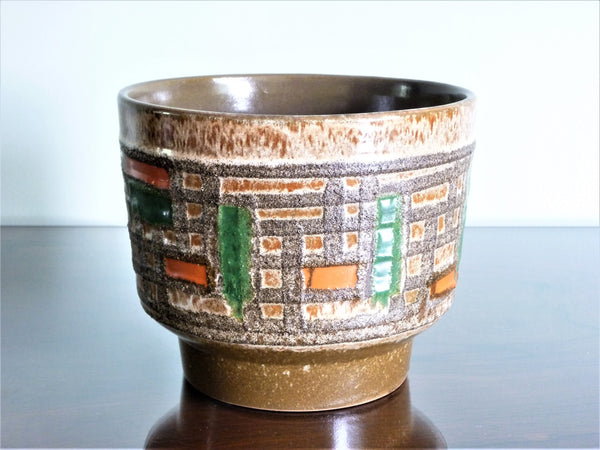 Strehla planter, brown, green and orange