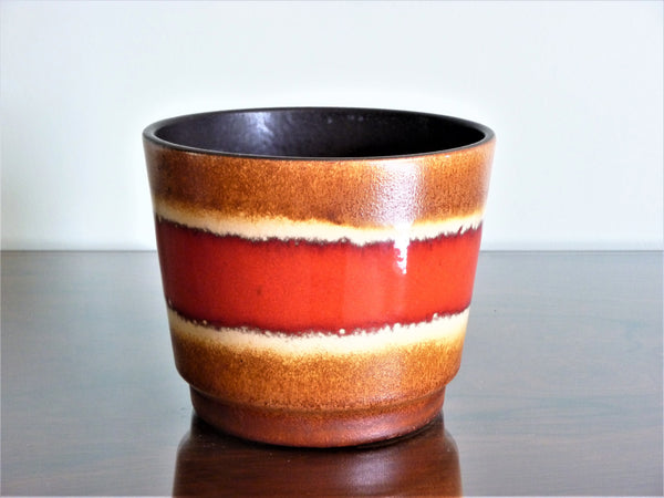 Scheurich planter, brown and beige with red band