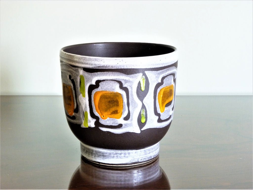 Vintage Dutch planter, grey and black with details of orange and green