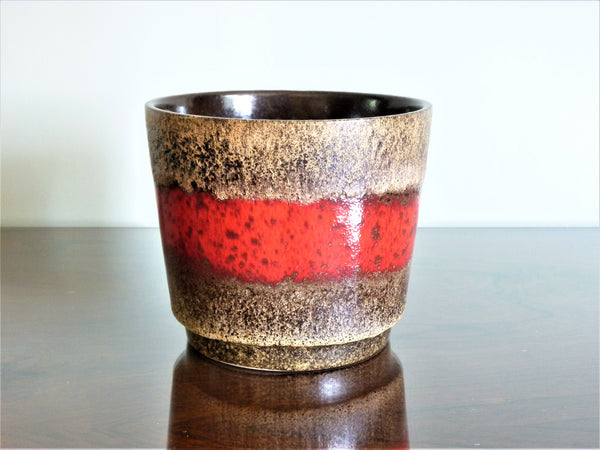 Scheurich planter, speckled brown lava effect with red band