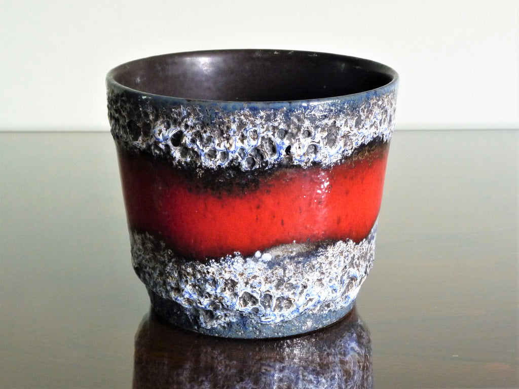 Scheurich planter, blue, black and white lava with red band