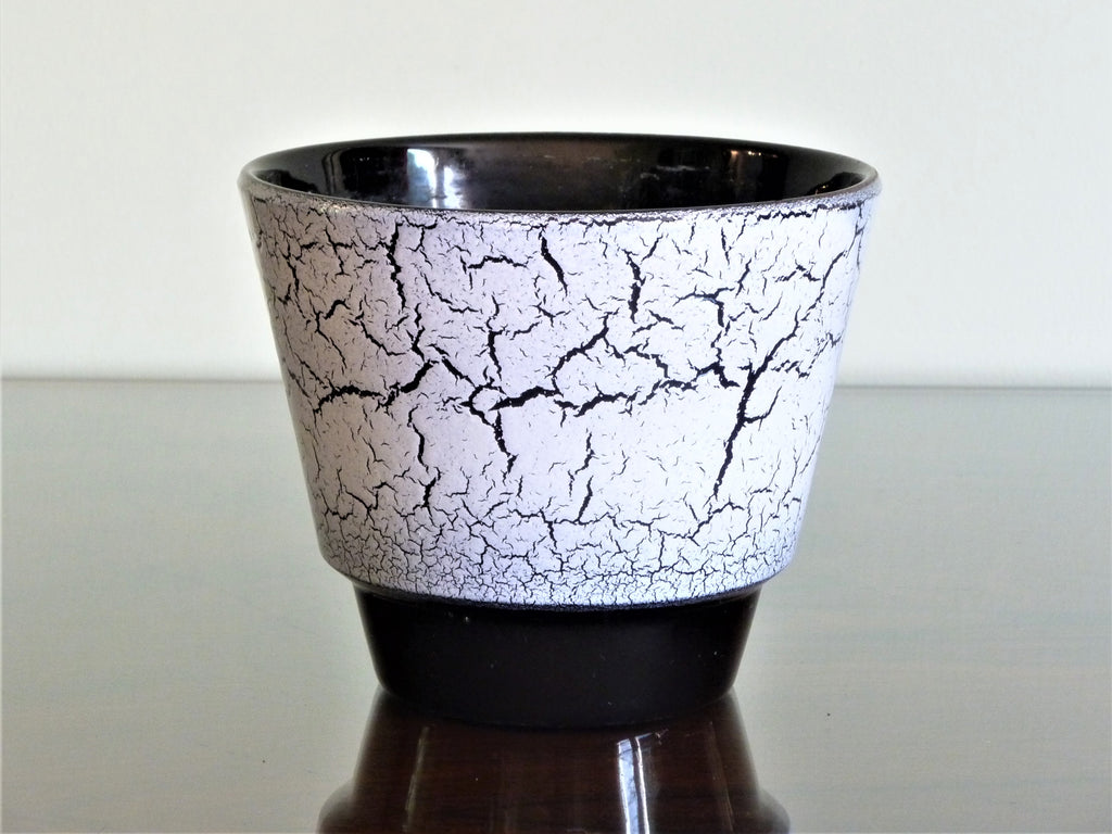 ADCO planter, lilac and black crackle glaze