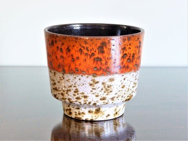 Marei planter, speckled orange and white