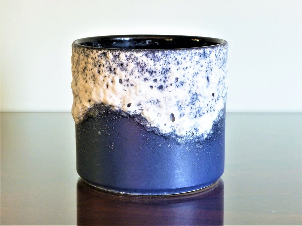 Dumler & Breiden planter, navy cyclinder with white lava glaze