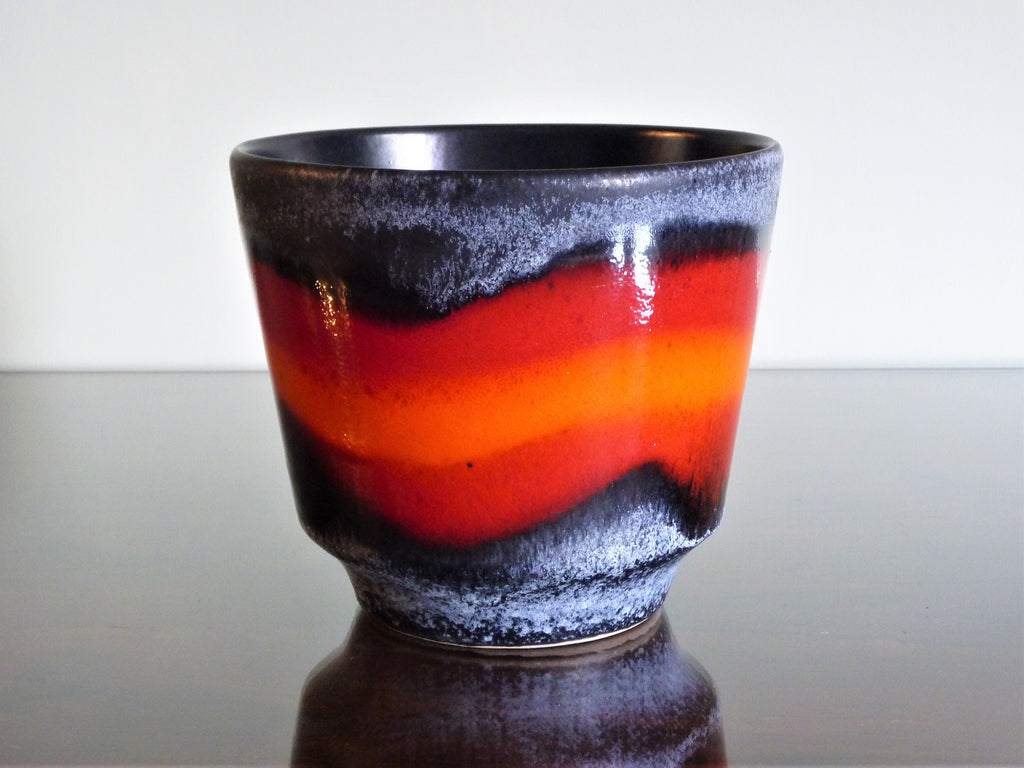 Vintage planter, grey with red and orange band