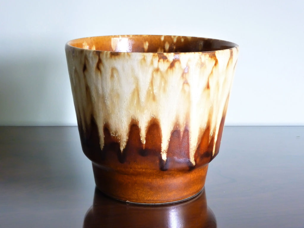 Vintage planter, brown and cream drip glaze
