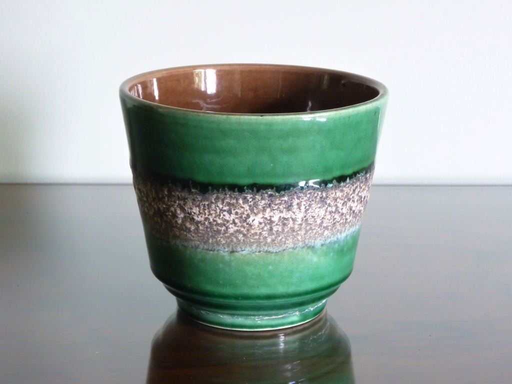 Vintage planter, green with white band